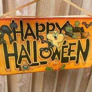 Vintage 80s 90s  Halloween wooden sign